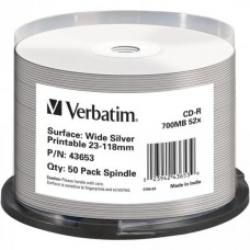CD-R 80 Verbatim 52x DLP Inkjet silver NO-ID 50er Cakebox