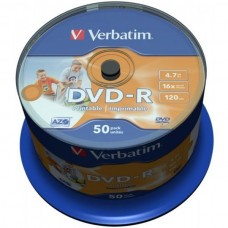 DVD+R 4.7GB Verbatim 16x Inkjet white Full Surface 10er Jewel Case
